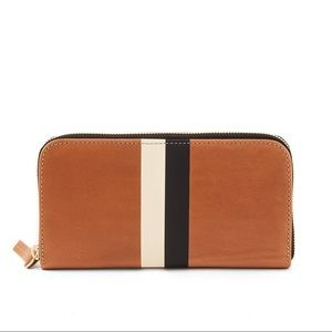 $255 Clare V / Vivier Striped Leather Zip Wallet